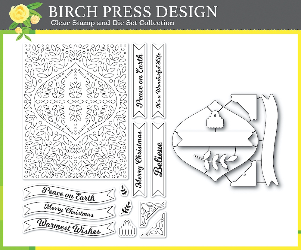 Birch Press Design CHRISTMAS ORNAMENT AND LABELS Clear stamps and Die Set 8154 zoom image