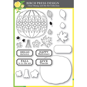 Birch Press Design PUMPKIN LACEWORK Clear stamps and Die Set 8153