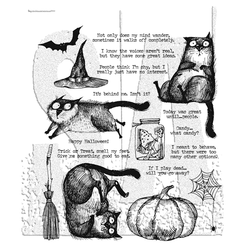 Tim Holtz Cling Rubber Stamps 2020 SNARKY CAT HALLOWEEN CMS407 Preview Image
