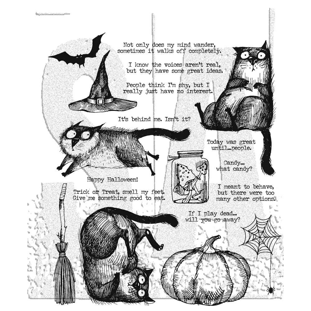 Tim Holtz Cling Rubber Stamps 2020 SNARKY CAT HALLOWEEN CMS407 zoom image