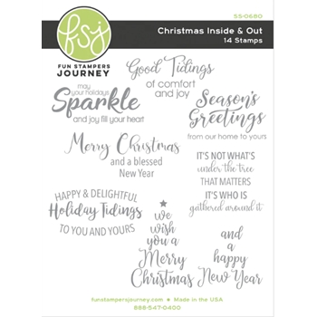 Fun Stampers Journey CHRISTMAS INSIDE AND OUT Cling Stamps SS-0680
