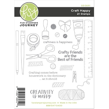 Fun Stampers Journey CRAFT HAPPY Clear Stamps SS-0691