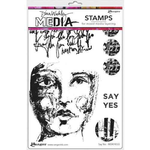 Dina Wakley SAY YES Media Cling Rubber Stamp MDR74533 Preview Image