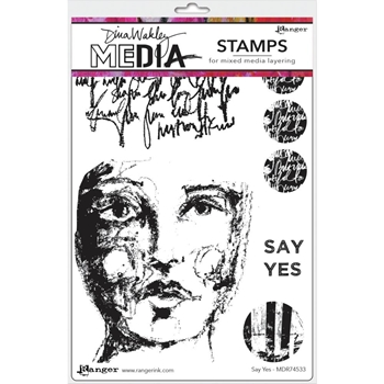 Dina Wakley SAY YES Media Cling Rubber Stamp MDR74533