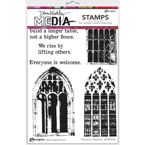 Dina Wakley EVERYONE IS WELCOME Media Cling Rubber Stamp MDR74526 Preview Image