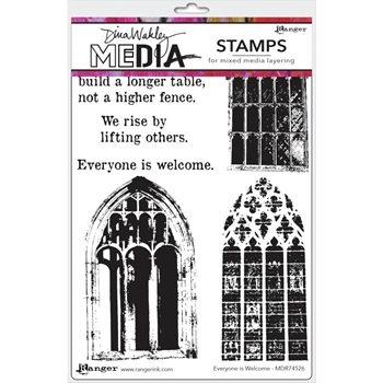 Dina Wakley EVERYONE IS WELCOME Media Cling Rubber Stamp MDR74526