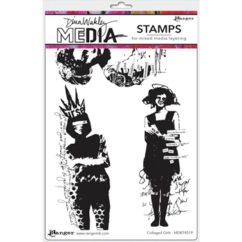 Dina Wakley COLLAGED GIRLS Media Cling Rubber Stamp MDR74519