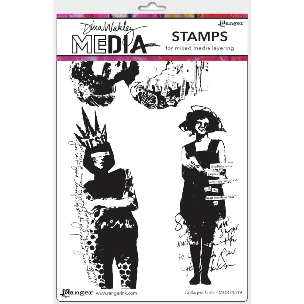 Dina Wakley COLLAGED GIRLS Media Cling Rubber Stamp MDR74519 zoom image