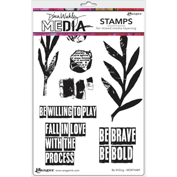 Dina Wakley BE WILLING Media Cling Rubber Stamp MDR74489