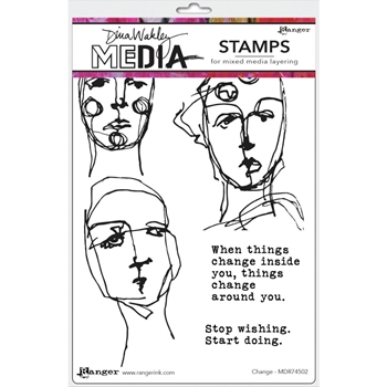 Dina Wakley CHANGE Media Cling Rubber Stamp MDR74502