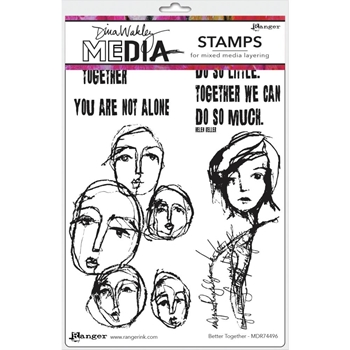 Dina Wakley BETTER TOGETHER Media Cling Rubber Stamp MDR74496