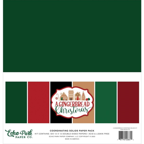Echo Park A GINGERBREAD CHRISTMAS 12 x 12 Solids Paper Pack gc221015 Preview Image