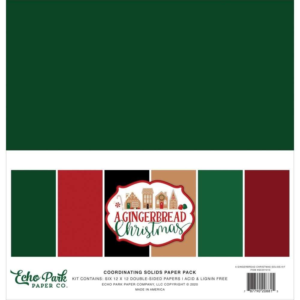 Echo Park A GINGERBREAD CHRISTMAS 12 x 12 Solids Paper Pack gc221015 zoom image