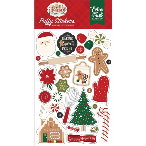 Echo Park A GINGERBREAD CHRISTMAS Puffy Stickers gc221066 Preview Image