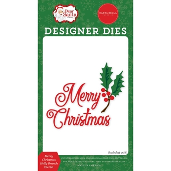 Carta Bella MERRY CHRISTMAS HOLLY BRANCH Dies Set cbde125040
