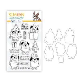 Whimsy Stamps HAPPY PUGMAS Clear Stamps and Dies Stamptember 2020 Exclusive sssd112256c