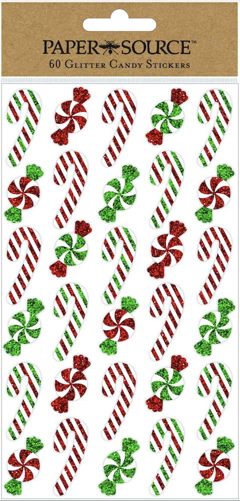 Paper Source HOLIDAY CANDY GLITTER Stickers Pack of 60 cmas16 zoom image