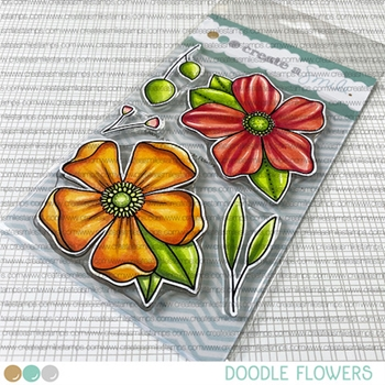 Create A Smile DOODLE FLOWERS Clear Stamps clcs154