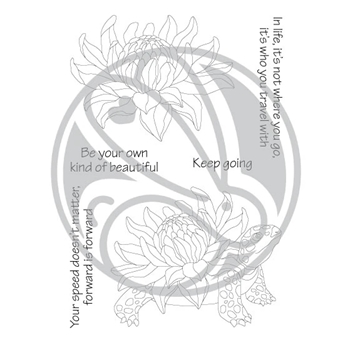 The Rabbit Hole Designs TURTLE BOTANICAL Clear Stamps TRH-79