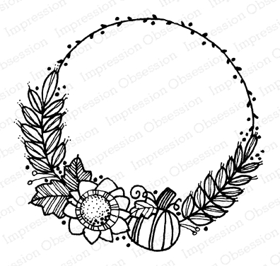 Impression Obsession Cling Stamp FALL WREATH D12286 Preview Image