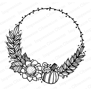 Impression Obsession Cling Stamp FALL WREATH D12286