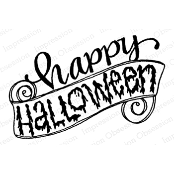 Impression Obsession Cling Stamp HAPPY HALLOWEEN D12263