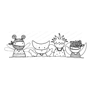 Impression Obsession Cling Stamp TRICK OR TREATERS F12267