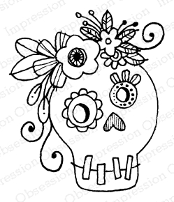 Impression Obsession Cling Stamp SKULL 1 C12257