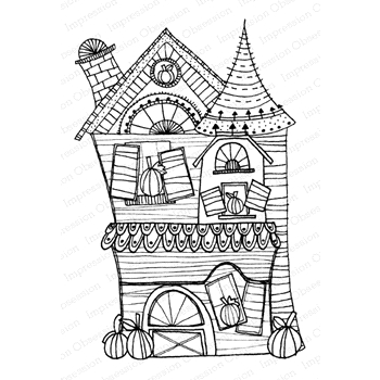 Impression Obsession Cling Stamp HAUNTED HOUSE 2 F12265