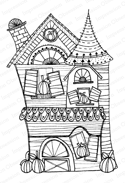 Impression Obsession Cling Stamp HAUNTED HOUSE 2 F12265 zoom image