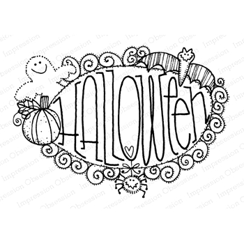 Impression Obsession Cling Stamp HALLOWEEN F12262