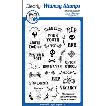 Whimsy Stamps GRAVE EPITAPHS Clear Stamps CWSD338