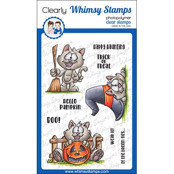 Whimsy Stamps SPOOKY KITTIES Clear Stamps DP1051