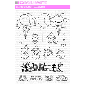 Clearly Besotted BALLOON BUNCH HALLOWEEN Clear Stamps