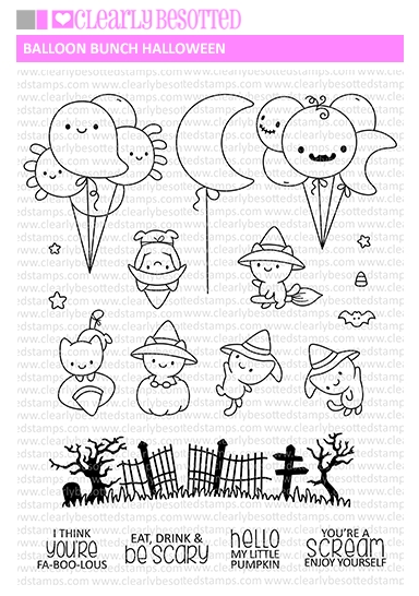 Clearly Besotted BALLOON BUNCH HALLOWEEN Clear Stamps zoom image