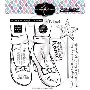 Colorado Craft Company Big and Bold RUBY SLIPPERS Clear Stamps BB360