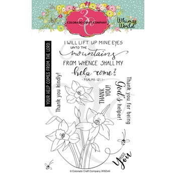Colorado Craft Company Whimsy World LIFT MY EYES DAFFODILS Clear Stamps WW344