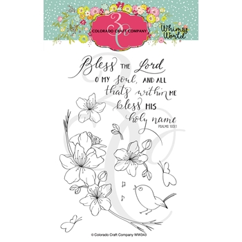 Colorado Craft Company Whimsy World BLESS THE LORD Clear Stamps WW343