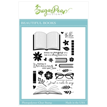 SugarPea Designs BEAUTIFUL BOOKS Clear Stamp Set spd00461