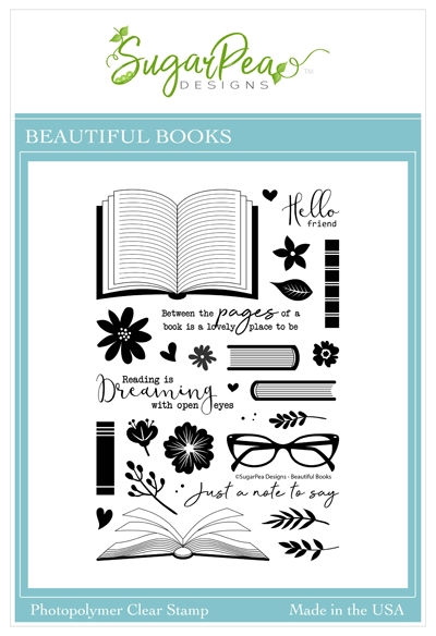 SugarPea Designs BEAUTIFUL BOOKS Clear Stamp Set spd00461 zoom image