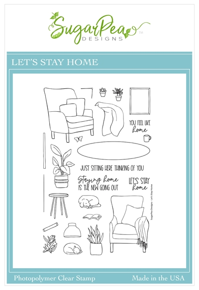 SugarPea Designs LET'S STAY HOME Clear Stamp Set spd00471 zoom image