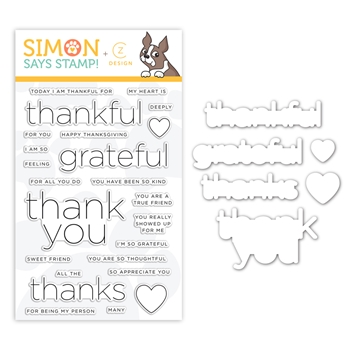 CZ Design Stamps and Dies CLEAN LINE GRATITUDE set355clg Stamptember