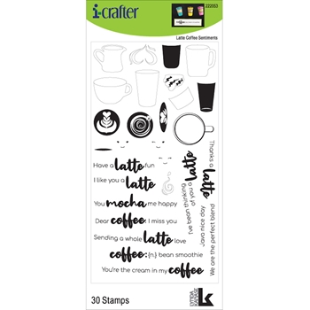 i-Crafter LATTE COFFEE SENTIMENTS Clear Stamps 222053*