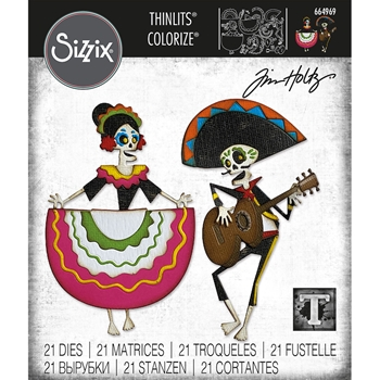 Tim Holtz Sizzix DAY OF THE DEAD Colorize Thinlits Dies 664969
