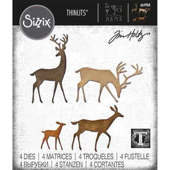 Tim Holtz Sizzix DARLING DEER Thinlits Dies 664968