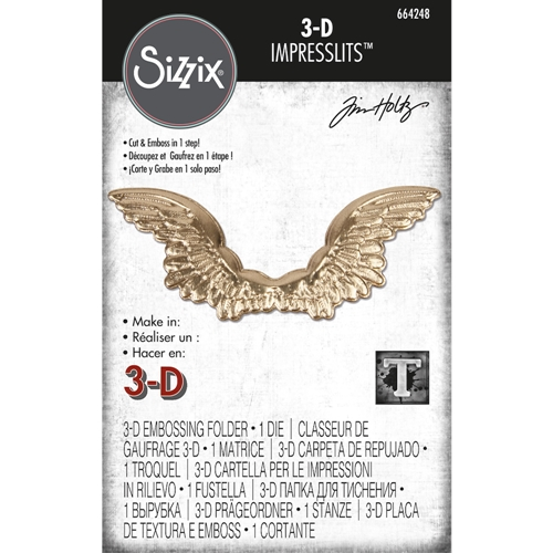Tim Holtz Sizzix WINGED 3D Impresslits Cut and Emboss Folder 664248 Preview Image