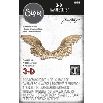 RESERVE Tim Holtz Sizzix WINGED 3D Impresslits Cut and Emboss Folder 664248