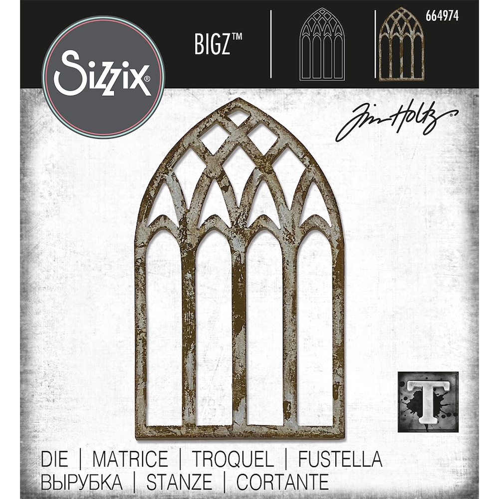 RESERVE Tim Holtz Sizzix CATHEDRAL WINDOW Bigz Die 664974 zoom image