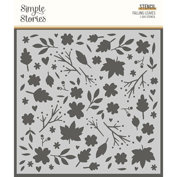 Simple Stories COZY DAYS FALLING LEAVES 6 x 6 Stencil 13526