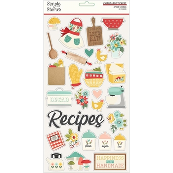 Simple Stories APRON STRINGS 6 x 12 Chipboard Stickers 14015